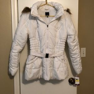 White Puffy Coat with Faux Fur Hood